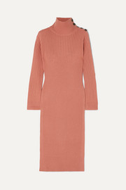 See By Chloé Ribbed wool-blend turtleneck midi dress