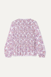 See By Chloé Shirred printed crepe top