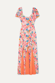 STAUD Baya pleated printed crepe de chine and chiffon maxi dress