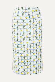 STAUD Cabana printed linen skirt