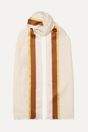 Embroidered striped silk, wool and cashmere-blend scarf