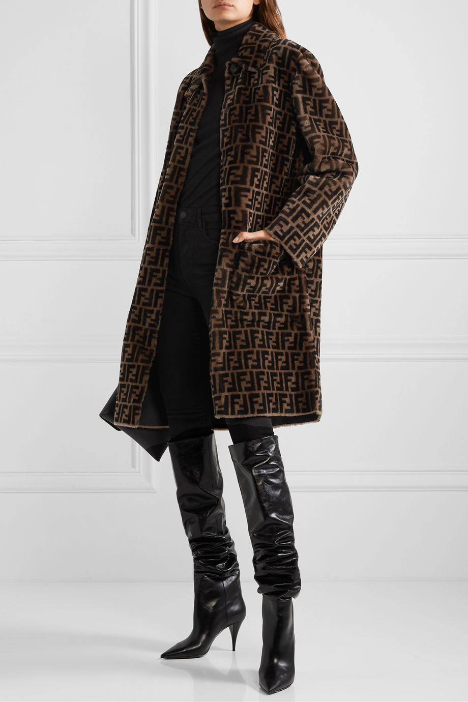 Fendi Reversible printed shearling coat