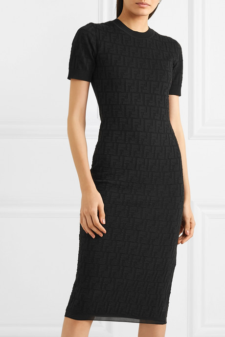 Pointelle-knit cotton-blend midi dress