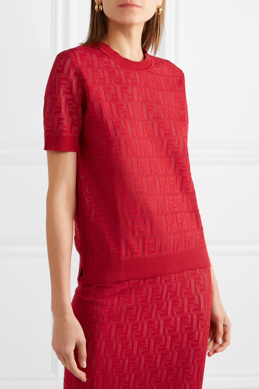 Fendi Intarsia-knit cotton-blend sweater