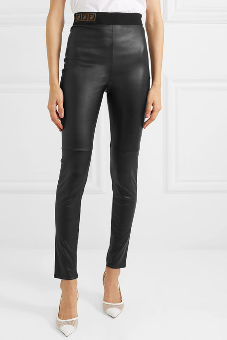 Intarsia-trimmed leather skinny pants