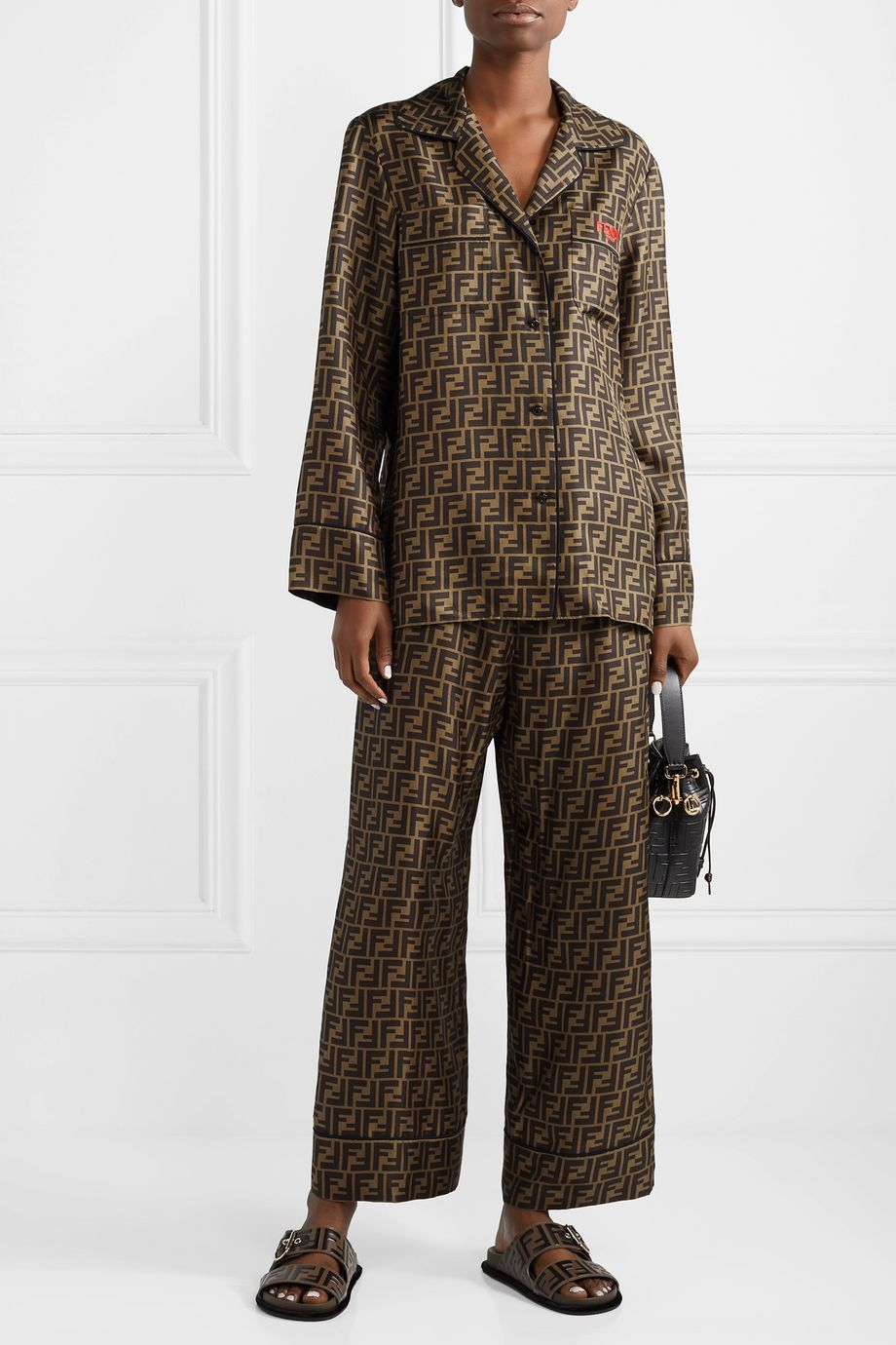 Fendi Embroidered printed silk-satin shirt