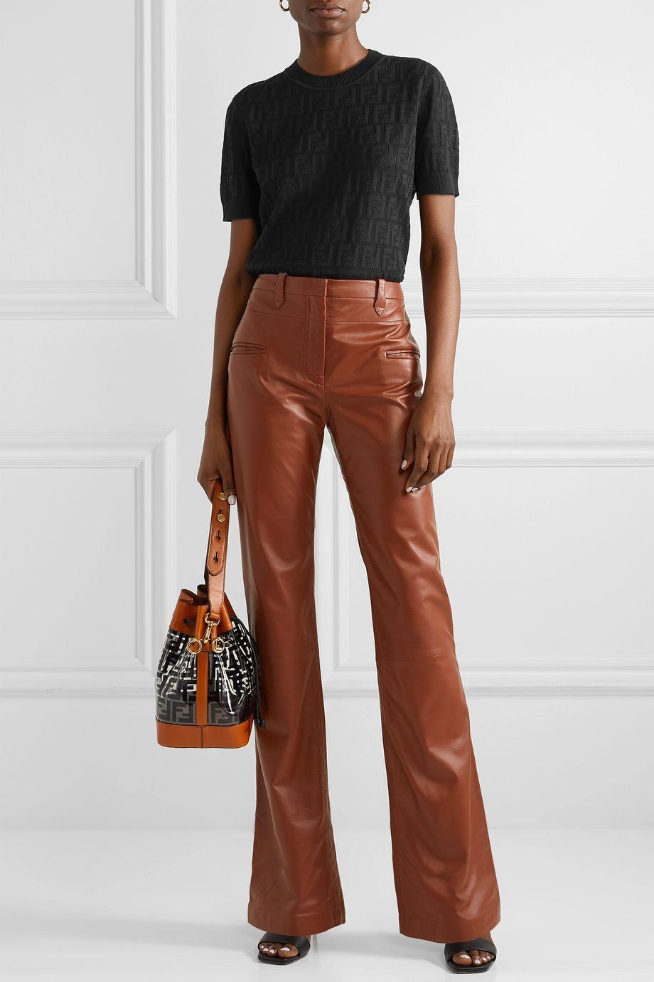 Fendi Pointelle-knit cotton-blend top