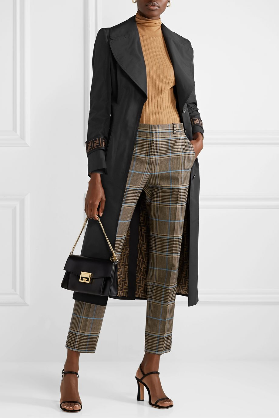 Fendi Belted jacquard and leather-trimmed gabardine trench coat