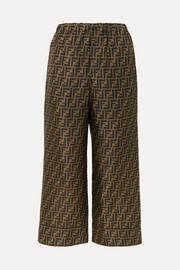 Fendi Cropped printed silk-satin pants