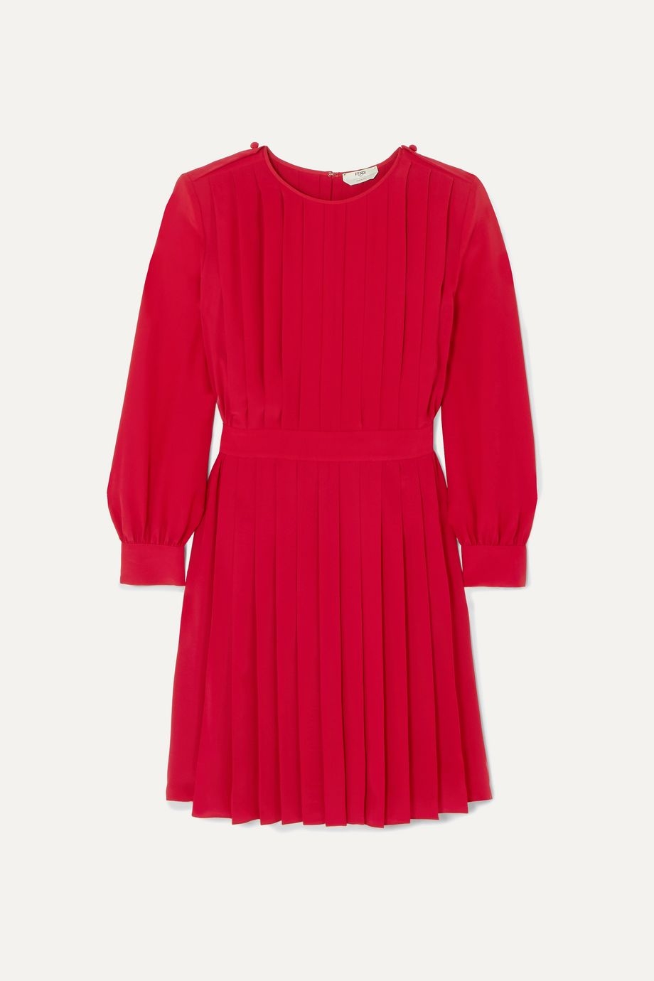 Fendi Pleated silk crepe de chine dress