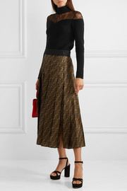 Fendi Lace-trimmed ribbed wool and cashmere-blend turtleneck sweater