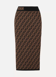 Fendi Jacquard-knit midi skirt