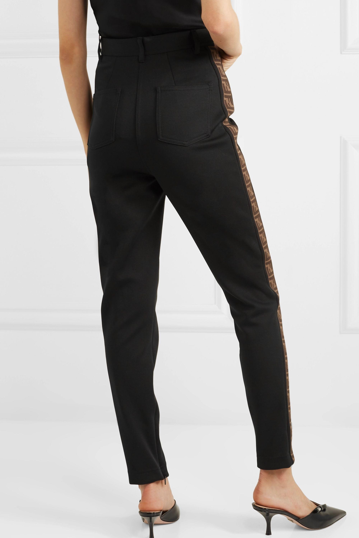 Fendi Intarsia-trimmed cady skinny pants