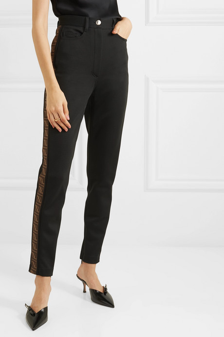 Intarsia-trimmed cady skinny pants