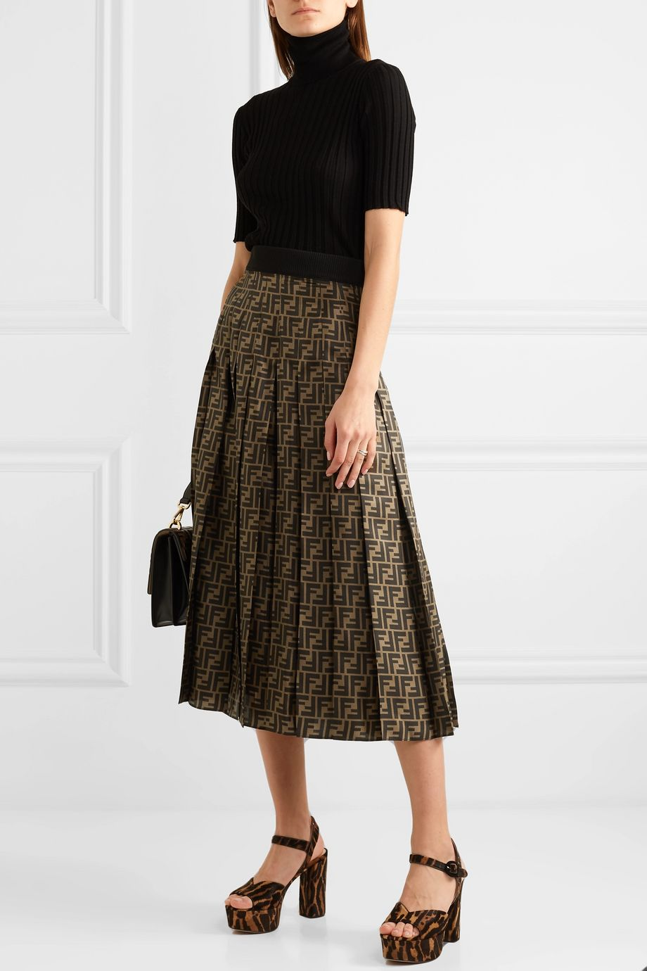 Fendi Pleated silk-jacquard midi skirt