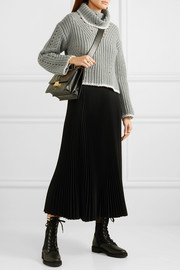 Fendi Pointelle-knit silk, mohair and cashmere-blend turtleneck sweater