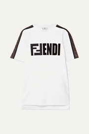 Fendi Embroidered flocked cotton-jersey T-shirt