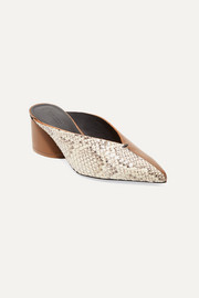 Natti paneled snake-effect and smooth leather mules