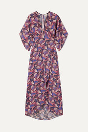 Jaline Kelly open-back printed silk crepe de chine midi dress