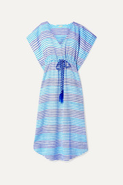Camila gathered striped cotton kaftan