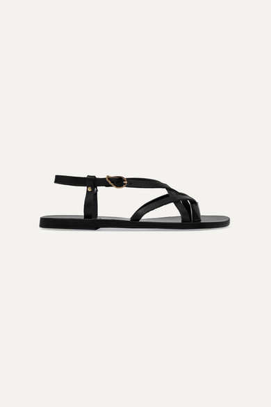 Ancient Greek Sandals - Semele Leather Sandals - Black
