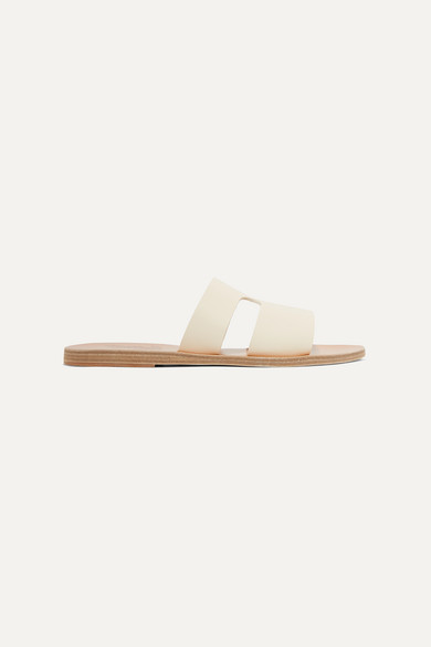ANCIENT GREEK SANDALS | Ancient Greek Sandals - Apteros Cutout Leather Slides - Off-White | Goxip