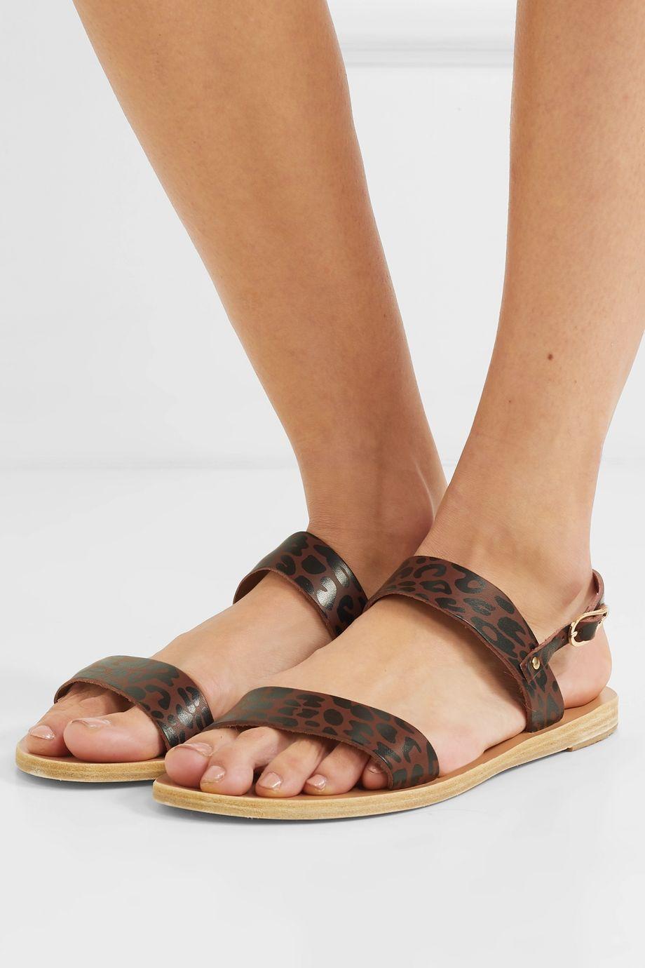 Ancient Greek Sandals Clio leopard-print leather slingback sandals