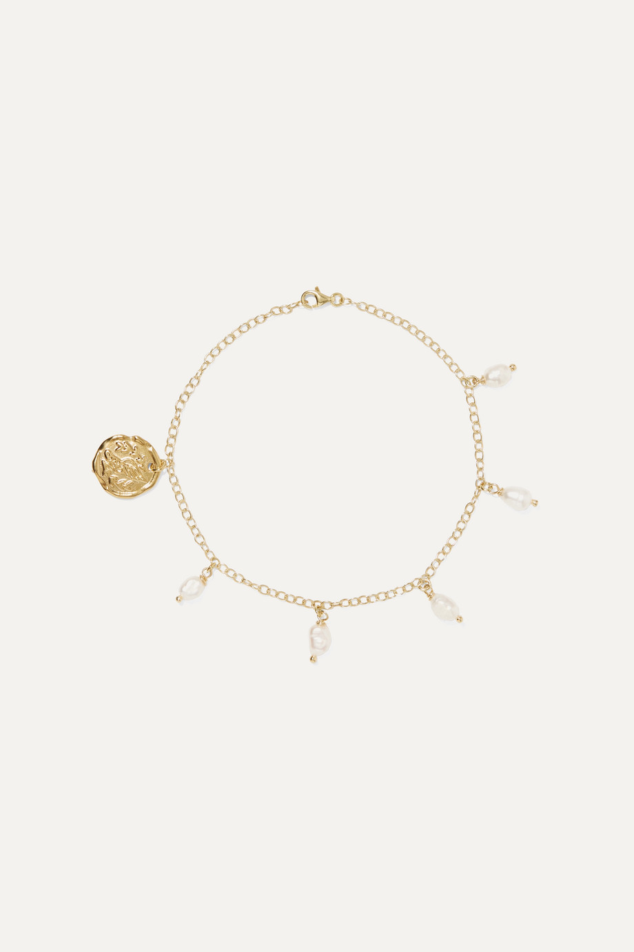 Ancient Greek Sandals Gold-tone faux pearl anklet