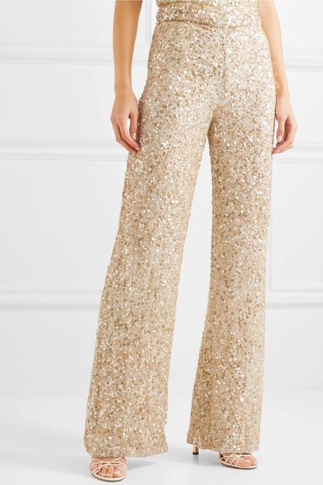 Hope sequined chiffon wide-leg pants