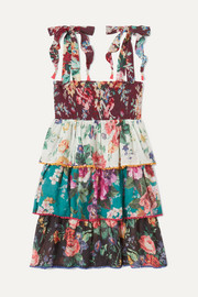 Allia shirred tiered floral-print cotton-voile dress