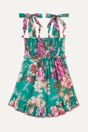 Allia ruffled shirred floral-print cotton-voile dress
