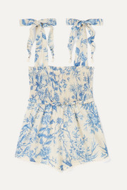 Verity shirred floral-print cotton-voile playsuit