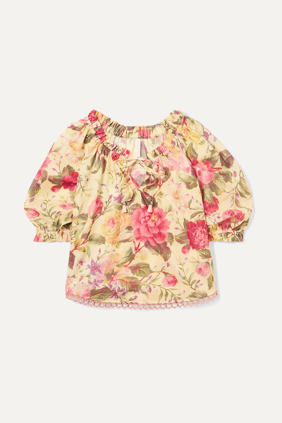Zimmermann Kids Honour gathered floral-print cotton-voile top