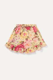 Honour ruffled floral-print cotton-voile skirt
