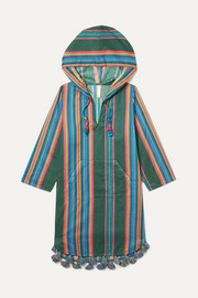 Zimmermann Kids Allia hooded tasseled striped cotton kaftan