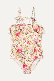 Zimmermann Kids Honor ruffled floral-print swimsuit