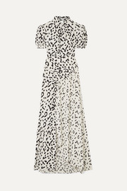 Self-Portrait Open-back ruched leopard-print jersey maxi dress
