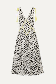 Self-Portrait Embroidered leopard-print satin-jacquard midi dress