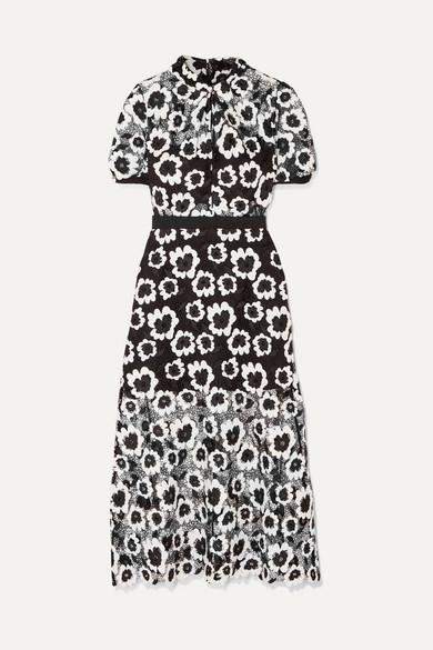 SELF-PORTRAIT | Self-Portrait - Floral Guipure Lace Midi Dress - Black | Goxip