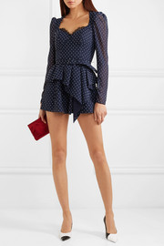 Belted lace-trimmed fil coupé crepe playsuit