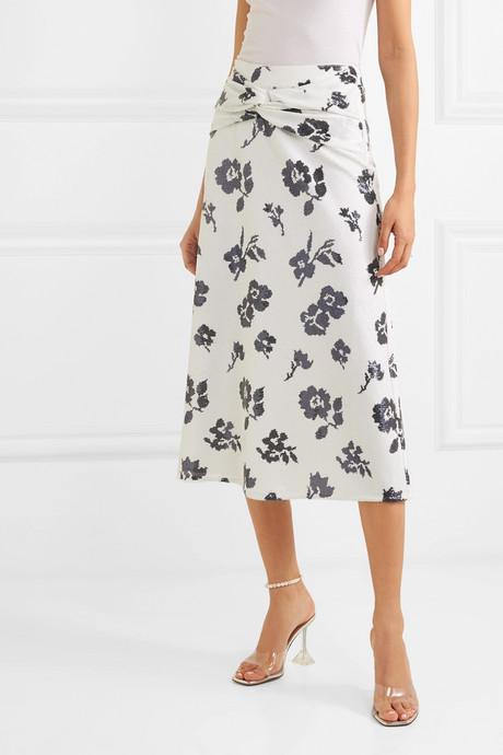 Sequined crepe midi skirt