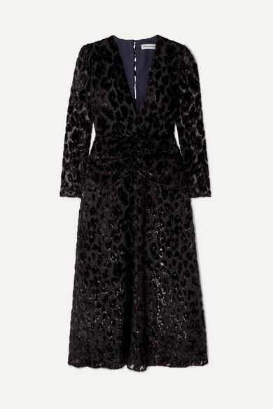 SELF-PORTRAIT | Self-Portrait - Metallic Flocked Chiffon Midi Dress - Black | Goxip