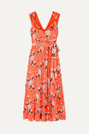 Self-Portrait Pleated floral-print crepe de chine wrap dress