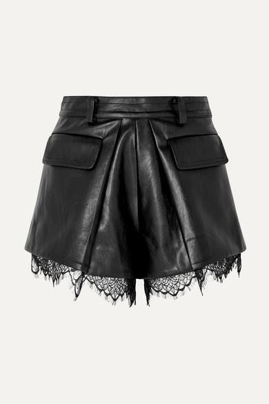 SELF-PORTRAIT | Self-Portrait - Lace-Trimmed Faux Leather Shorts - Black | Goxip