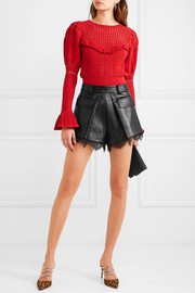 Lace-trimmed faux leather shorts