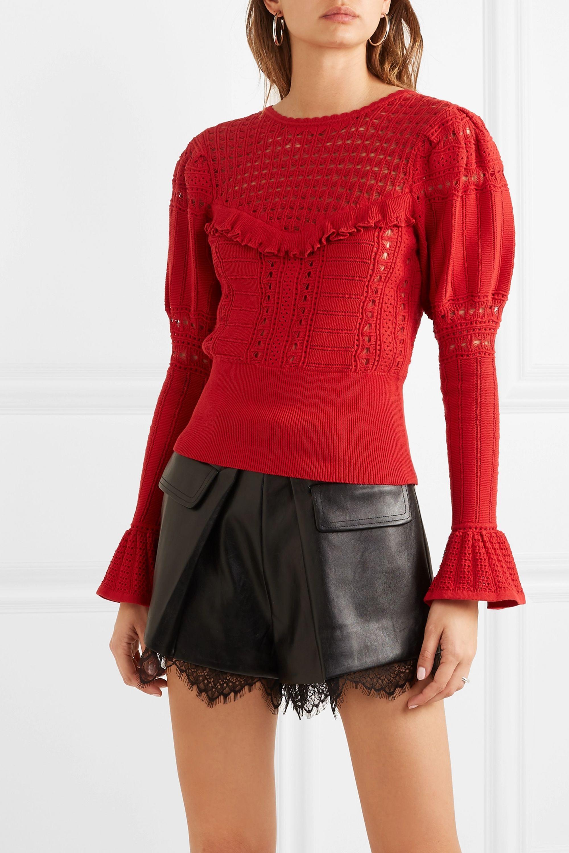 Self-Portrait Ruffled open-knit cotton sweater