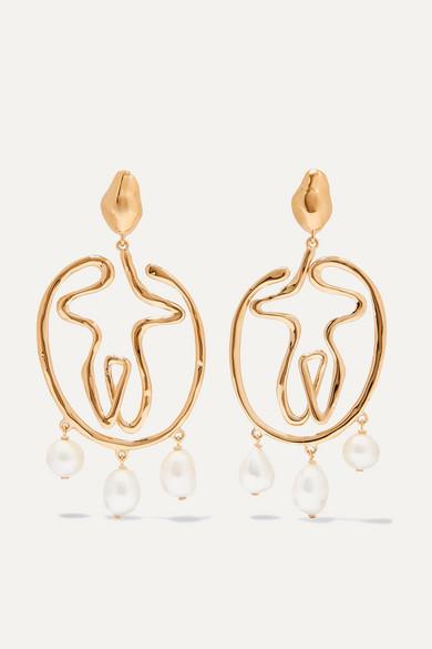 Chloé Jewelry Femininities gold-tone pearl clip earrings