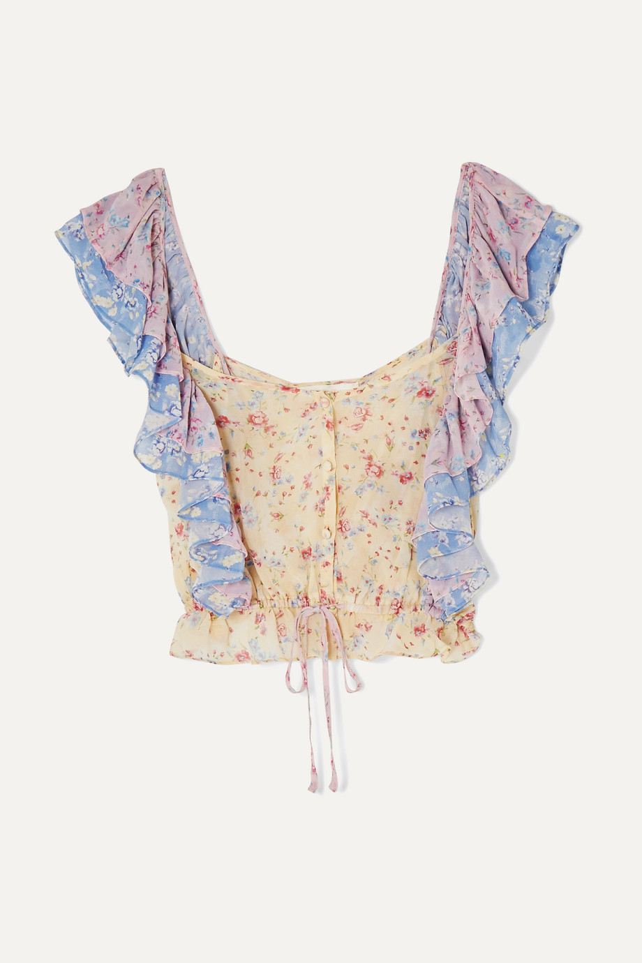 LoveShackFancy Avery cropped ruffled floral-print silk-georgette top