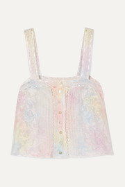 LoveShackFancy Daisy crochet-trimmed tie-dyed silk-satin top