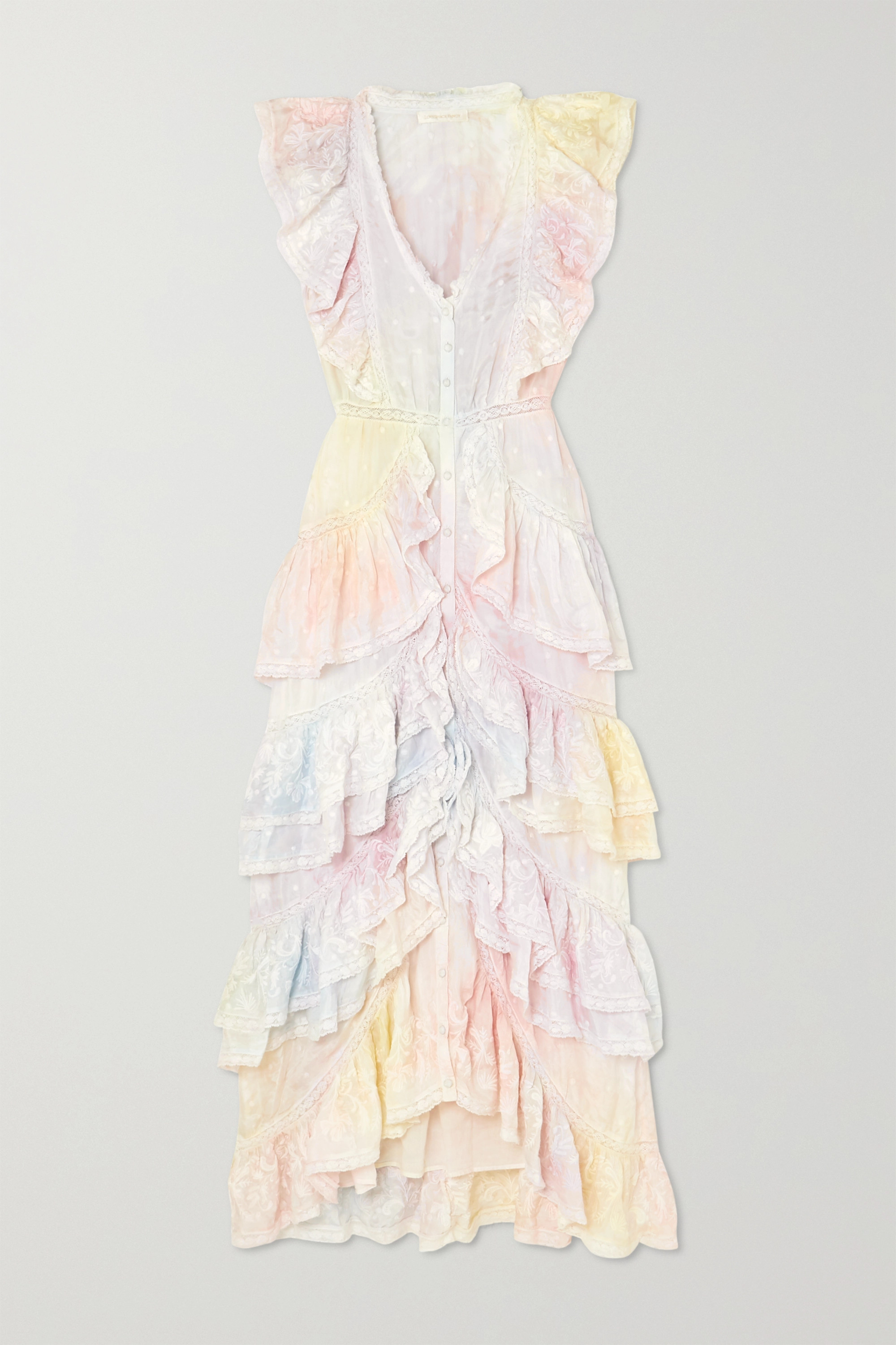 LoveShackFancy India ruffled lace-trimmed tie-dyed silk dress